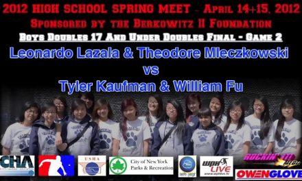 Boys Doubles 17 And Under Doubles Final Game 2- Leonardo Lazala & Theodore Mleczkowski vs Tyler Kaufman & William Fu