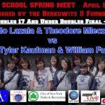 Boys Doubles 17 And Under Doubles Final Game 1- Leonardo Lazala & Theodore Mleczkowski vs Tyler Kaufman & William Fu