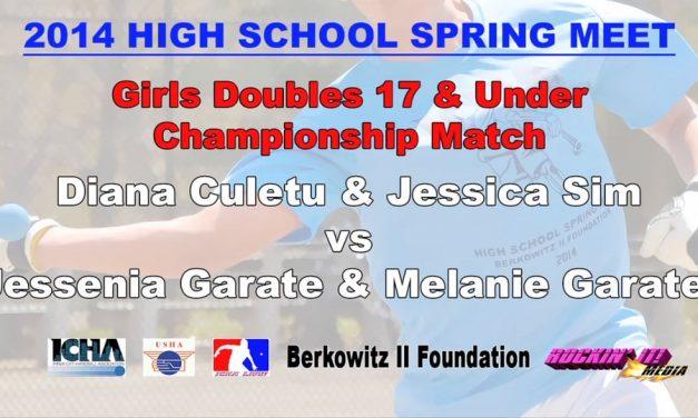 Girls Doubles 17 & Under Championship Match – Diana Culetu & Jessica Sim vs Jessenia Garate & Melanie Garate