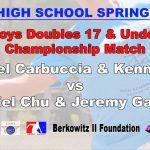 Boys Doubles 17 & Under Championship Match – Gabriel Carbuccia & Kenny Cao vs Daniel Chu & Jeremy Garcia