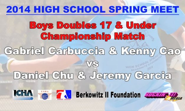 Boys Doubles 17 & Under Championship Match – Gabriel Carbuccia & Kenny Cao vs Daniel Chu & Jeremy Garcia