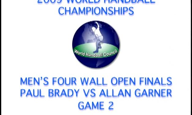 2009 WORLD HANDBALL CHAMPIONSHIPS – MEN'S FOUR WALL OPEN FINALS – PAUL BRADY VS ALLAN GARNER – GAME 2
