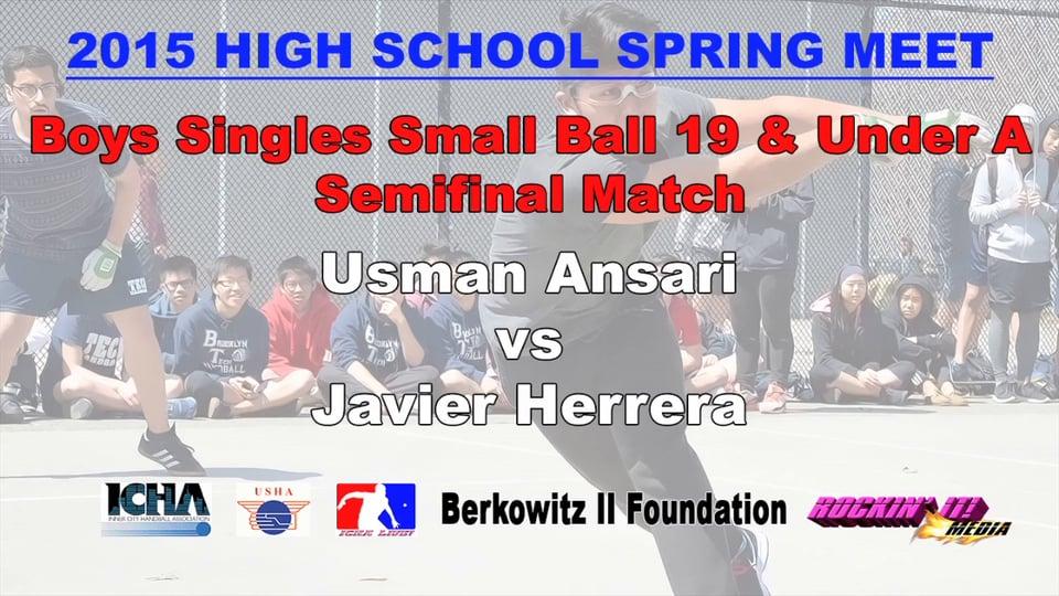 Boys Singles Small Ball 19 & Under A Semifinal Match – Usman Ansari vs Javier Herrera