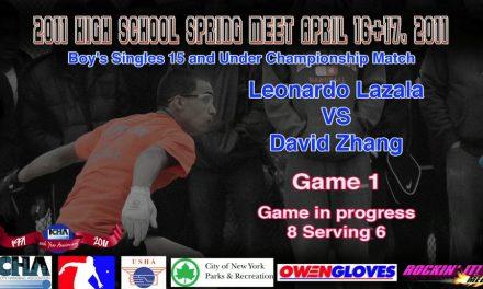 Boy's Singles 15 and Under Championship Match – Leonardo Lazala vs David Zhang – Game 1