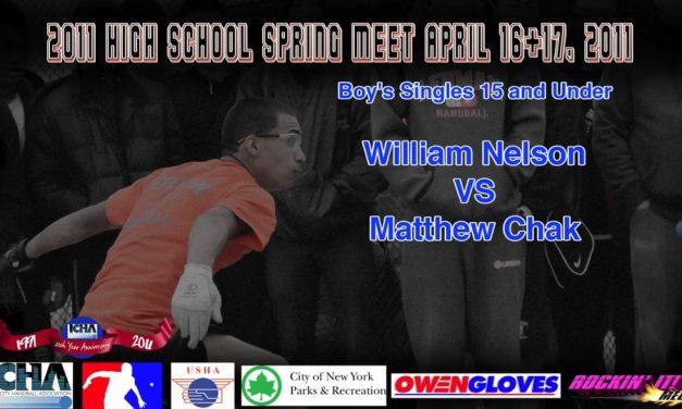 Boy's Singles 15 and Under – William Nelson vs Matthew Chak