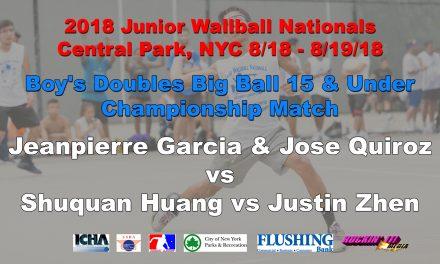 Boy's Doubles Big Ball 15 & Under – Championship Match – Jeanpierre Garcia & Jose Quiroz vs Shuquan Huang vs Justin Zhen