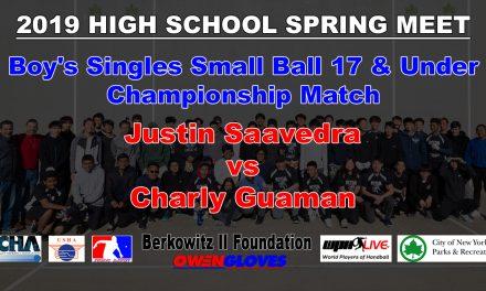 Boy's Singles Small Ball 17 & Under Championship Match – Justin Saavedra vs Charly Guaman